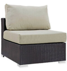 Outdoor Patio Armless Chair Lounge Weather-Resist Cushion Padded Seat Lounger