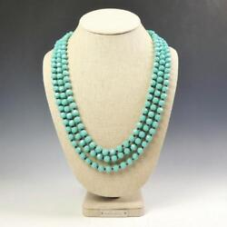 Sparkling Faceted Turquoise Crystals Bead Knotted 72