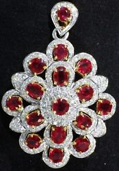 Pendant mogok ruby and diamond on white gold 14K and 18K