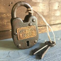 New York Insane Asylum Working Cast Iron Lock W 2 Keys W Rusty Antique Finish