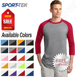 Sport-Tek Mens 100% Cotton Raglan 34 Sleeve Colorblock Baseball T-Shirt M-T200