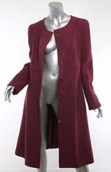 CHANEL 01A Womens Burgundy Tweed CASHMERE CC-Button Long Coat Jacket 4614