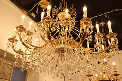Brand New Brass Swarovski Crystals Gold Chandelier Lighting Made in Italy