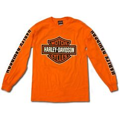 Harley Davidson Men#x27;s Bar and Shield Long Sleeve Safety Orange T Shirt $39.95