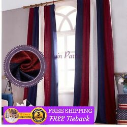 Bedroom Red White Blue Curtains Chenille Design Fabric Drapes Pinch Pleats Hooks