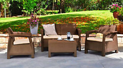 Outdoor 4 Pieces Set Armchairs Loveseat Coffee Table Seat Cushions Brown Patio