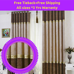 Beige Ivory Cappuccino Coffee Bedroom Curtain Fabric Design Drapes Sheer Eyelets