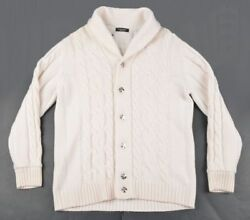 STEFANO RICCI Solid White Thick Cableknit Cashmere Cardigan Sweater - EU 50  M