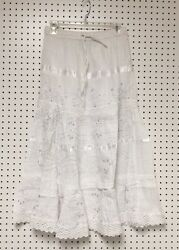 100% Cotton Boho Lace Trim Embroidered Tiered Peasant Sweep Skirt 1X 2X 3X NWT $14.99