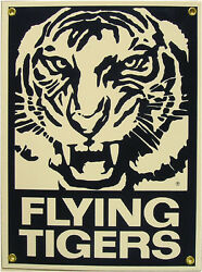 Flying Tigers Aero Plane Airplane Vintage Aviation Porcelain Metal Sign $45.00