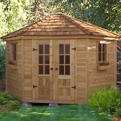 Outdoor Wooden Storage Shed Cedar Patio Sturdy Large Wall Workbench 9Ft x 9Ft