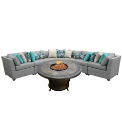 TKC Florence 6 Piece Patio Wicker Fire Pit Sectional Set in Gray