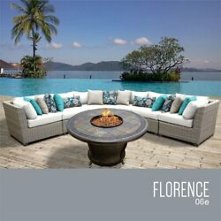 TKC Florence 6 Piece Patio Wicker Fire Pit Sectional Set in White