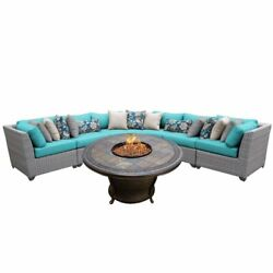 TKC Florence 6 Piece Patio Wicker Fire Pit Sectional Set in Turquoise