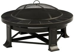 Edwards 34 in. Steel Wood-Burning Fire Pit with Gray Tile Outdoor Accessories