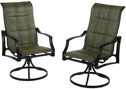 Padded Sling Patio Lounge Swivel Chairs (2-Pack) Outdoor Patio Furniture New
