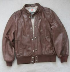 Vintage Field & Stream Brown Leather Jacket Snap-up Front Silk Lining size 40