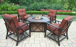 Outdoor Patio Conversation Set 5pcs Aluminium Fire Pit Table Deep Seating Chairs