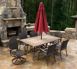 Outdoor Patio Furniture Set 7 Piece Rectangular Dining Table Tortuga Marquesas