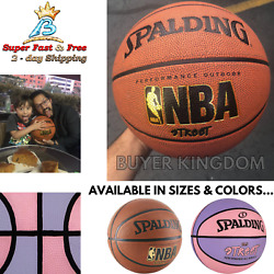 Official NBA Game Basketball Training Indoor Outdoor Rubber Spalding Varsity New $24.74