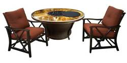 3-Pc Round Gas Firepit Table Set [ID 3684329]