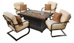 5-Pc Rectangular Slate Topped Gas Firepit Table Set [ID 3684341]