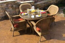 5 Piece Patio Set All Weather Wicker Sea Pines Tortuga Outdoor Patio Furniture