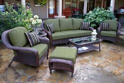 Outdoor Patio Furniture 6 Piece All Weather Wicker Sofa Set Tortuga Sea Pines