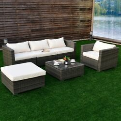 Outdoor Garden Patio Rattan Wicker Sofa Couch Furniture Set 2 Set Cushion Cover