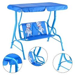 Backyard Garden Patio Swing Bench W Canopy 2 Seats Blue Play Toy For Children