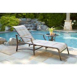 Outdoor Lounge Chair Padded Patio Rust Resistant Steel Frame Pool Backyard Seat