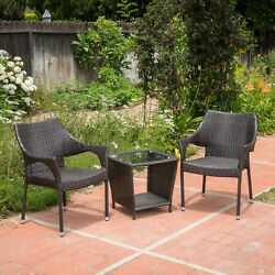 Patio Chat Set Wicker Chairs W Coffee Table 3pc Outdoor Garden Furniture Bistro