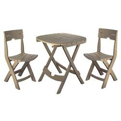 Outdoor Bistro Cafe Set Garden Table Chairs Furniture Resin Foldable Porch NEW
