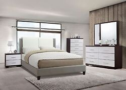 Bedroom Modern White amp; Grey Faux Leather HB 1pc Bed Two Panel Design Bedframe $775.00
