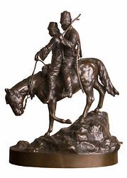 Decor Art Germany Wolf Bronze Sculpture Cossack and a Cossack girl on a horse