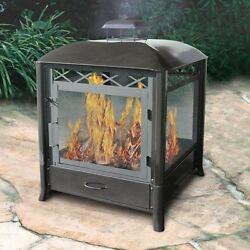 Outdoor Fire Pit Fireplace Hinged Door Wood Portable 25