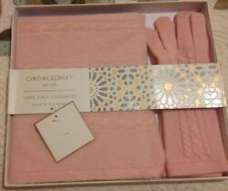 NWT Cynthia Rowley 100% 2 Ply Cashmere Scarf and Gloves Set Pink in gift box