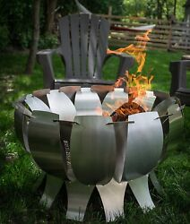Outdoor Fire Pit Wood Burning Stainless Steel Tanami Garden Patio Brazier Art