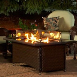 Outdoor GreatRoom Company Montego Balsam Propane Fire Pit Table Bundle Patio