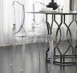 Dinning Room Chairs Plastic Ghost Set Of 2 Armless Accent Clear Seats Stacking