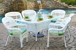 Outdoor Patio Furniture 7 Piece All Weather White Wicker Dining Set Tortuga