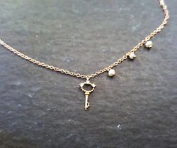 MEIRA T 18K Rose Gold Necklace With Key Pendant and Button Pearls
