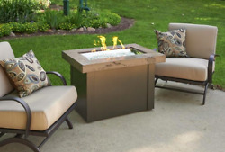 Outdoor GreatRoom Company Brown Providence Gas Fire Pit Table Rectangular Top