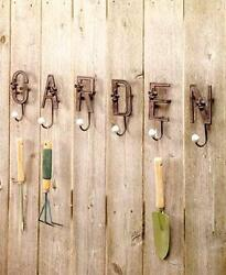 CAST IRON SET OF SIX GARDEN OUTDOOR WALL HOOKS HANGING FENCE SHED DECOR