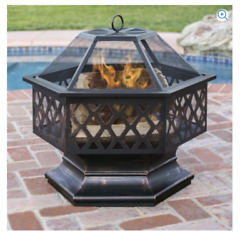 Outdoor Fire Pit Kit Home Decorators Fireplace Accessories Mesh Screen Lid Steel