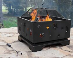 Modern Outdoor Firepit Large Deep Wood Burning Bowl Patio Barbeque Fireplace Pit