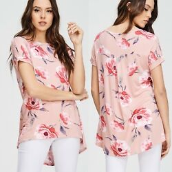 NWT Women#x27;s Small Pink Floral Boutique Blouse Top Usa Made $22.00