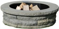 Nantucket Pavers Ledgestone 47 in. Concrete Wood Fuel Fire Pit Ring Kit Easy NEW