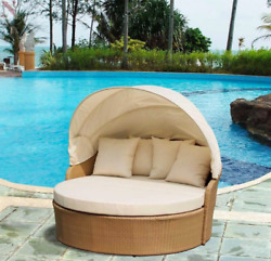Outdoor Daybed With Canopy All Weather Wicker Patio Furniture Condominium Hotel