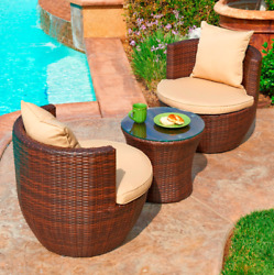 3 Piece Patio Set All Weather Wicker Outdoor Furniture Condominium Hotel Resort